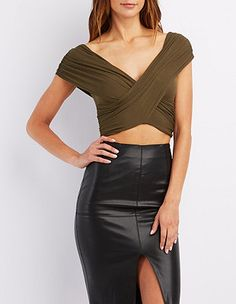 Wrapped Plunging Cropped Tee: Charlotte Russe