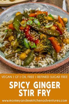 Veggie Fries, Veggie Stir Fry, Stir Fry Dishes, Stir Fry Recipes, Clean Eating Recipes For Dinner, Dinner Recipes, Spicy Ginger, Soy Sauce Stir Fry, Plant Based Whole Foods