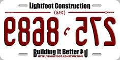 Our front auto license plate (tag). It is reversed (backwards). To read it use a mirror.
