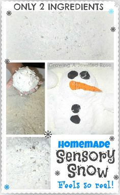 This homemade sensory snow only requires 2 ingredients and feels so real!  It is naturally cold too!  A must try sure to delight the kids!