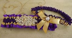 Purple and Gold Wedding Garter Set Crystal by Weddingzilla on Etsy, $35.00