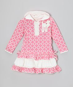 Take a look at this Pink Morocco Sequin Ruffle Hooded Dress - Infant, Toddler & Girls on zulily today!