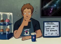 "s-opal: ""this is a result of thinking how all voltron coffee shop aus can easily be upgraded to become ✧✦ space✦✧ coffee shop aus then lance happened (i love all kinds of aus though) (As a part of my Patreon promotion, I'm going to post a new art..."