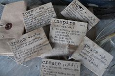 a fine farmhouse: handmades  Bowl Filler/ Stick Pins   Aged -decopaged dictionary words