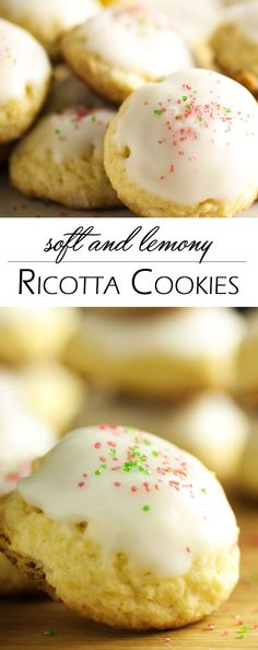 Soft and Lemony Ricotta Cookies - Tangy, soft, and cake like, these Italian ricotta cookies with lemon icing are a great part of a Christmas cookie platter. Change up the color of the decorative sugar to fit the occasion and you'll be making these all year 'round.