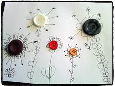 fleurs avec boutons, printemps, graphisme enfant