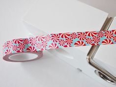 Red and White Lollipop Swirls Washi Tape 15mm by WhiteDaisyPetals