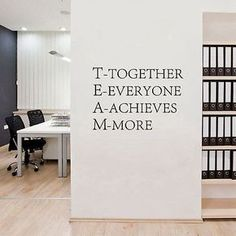 Cheap decal wall, Buy Quality decal sticker directly from China decorative furniture decals Suppliers: Team work Motivational Wall quotes Sticker,Inspirational words poster vinyl decal for Office decor Corporate Office Design, Office Interior Design, Home Office Decor, Office Interiors, Office Art, Office Ideas, Office Wall Design, Cheap Office Decor, Business Office Decor