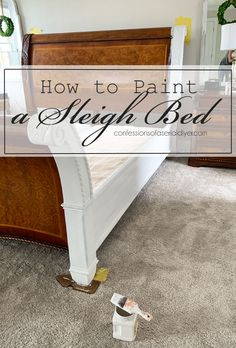 Today's the day, lovely friends! I am sharing how our sleigh bed turned out, and how I painted it! Sleigh Bed Painted, White Sleigh Bed, Wood Sleigh Bed, Sleigh Bed Frame, Painted Beds, Diy Bed Frame, Sleigh Beds, Painted Bed Frames, Bedroom Furniture Makeover