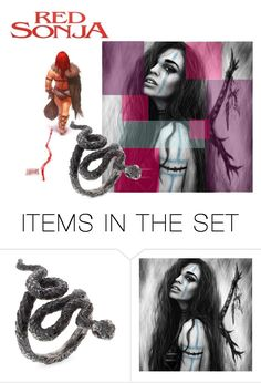 """Barbarian Red Sonia"" by shiningglassofwater on Polyvore featuring картины, book, legend, Stonepunk, RedSonia и Barbarian"