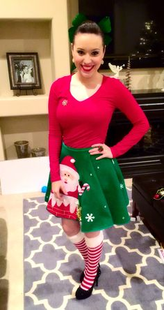 My outfit for ugly sweater party. I wore a tree skirt