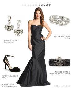 New Ideas Style Black Dress Formal Gowns Black Tie Wedding Attire, White Tie Wedding, Black Tie Attire, Black Wedding Dresses, Wedding Outfits, Wedding Hair, Formal Dresses For Weddings, Formal Gowns, Strapless Dress Formal