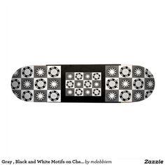 Gray , Black and White Motifs on Checkerboard Skate Board