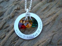 Family Circle of Love Birthstone Hearts Hand-Stamped Necklace, Sterling