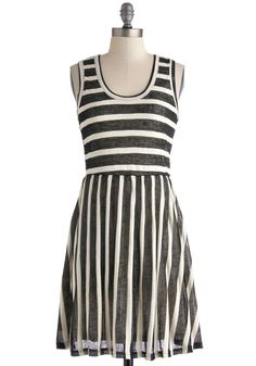 Table for Two Tone Dress. Breezing into the cafe, your closest friend scans the room for your familiar face, immediately spotting you clad in this black and white striped dress.  #modcloth