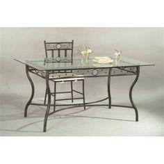 Table de cuisine / salle à manger en verre et acier rectangulaire