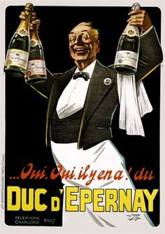 Duc Epernay Champagne poster from 1925 France - Beautiful Vintage Posters Reproductions. www.postercorner.com