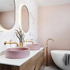 Bathroom interior 439663982368306949 - bathroom inspiration design, light pink bathroom, pink basin, vanity designs Source by Pink Tiles, Grey Tiles, White Tiles, Bad Inspiration, Interior Inspiration, Contemporary Bathroom Inspiration, Spiritual Inspiration, Writing Inspiration, Motivation Inspiration