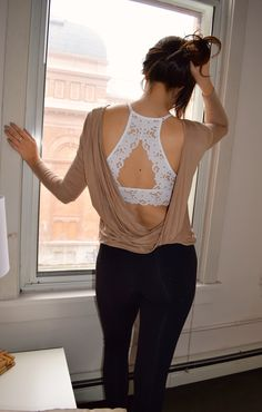 I like the bralette trend so it may be nice to find some tops with an open back (but more coverage on the shoulder I dont love the cut in tank look on me) where I could wear/feature a bra with a pretty back - Bralettes Bras - Ideas of Bralettes Bras Estilo Fashion, Look Fashion, Lace Bralette, High Neck Bralette Outfit, Trendy Swimwear, Lace Outfit, Lace Bodysuit, Lingerie Collection, Taylor Swift