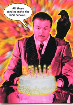 Funny birdman birthday card is crafted in Popliments' copyrighted psychedelic pop art style. Inspired by a classic movie still from The Amazing Mr. X, this greeting card has a color palette of pink, yellow and orange.   Front: All those candles make the bird nervous. Inside: Hope your Birthday is a Blow Out! It's Your Birthday, Birthday Cards, Happy Birthday, Funny Greeting Cards, Candle Making, Pink Yellow, Psychedelic, Retro Vintage, Pop Art
