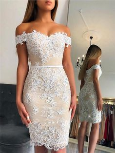 Sheath Off-shoulder Lace Appliques Sexy Short Homecoming Dresses, Off Shoulder Cocktail Dress, Short Cocktail Dress, Off Shoulder Lace Dress, Cocktail Dresses, Short Dresses, Prom Dresses, Wedding Dresses, Bride Dresses, Lace Dresses
