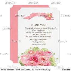 Bridal Shower Thank You Custom Photo Cards Bridal Shower Thank You Custom Photo Cards Romantic Rose Watercolor Painting Design Bridal Shower Thank You Flat Cards. Customize the name, date, text and all details of your Thank You Cards. Matching Bridal Shower Invitations, Wedding Invitation Cards, Save the Date Cards , Wedding Postage Stamps and Envelopes, Bridesmaid to be Request Cards and other Wedding Stationery and Wedding Gift Products available in the Floral Design Category of our Store.