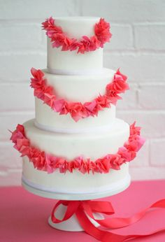 We haven't seen many garland cakes, but then again Erica OBrien of Erica OBrien Cake Design in Hamden, Connecticut seems to have her finger on the pulse of wedding cake trends. Featured below is one she shared on The Cake Blog. Inspired by garland pins on Pinterest, she decided to translate this idea onto a …