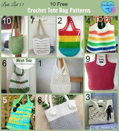 Crochet Tote Bags - 10 free crochet pattern link list on Crochet For You Blog.