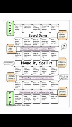 Board games 86905467795255834 - Board Game – Name it, Spell it (Easy) worksheet – Free ESL printable worksheets made by teachers Source by sflamm Esl Worksheets For Beginners, Printable Worksheets, Free Printable, Games To Learn English, Fun English Games, Learn Spanish, Speaking Games, Printable Board Games, Free Board Games