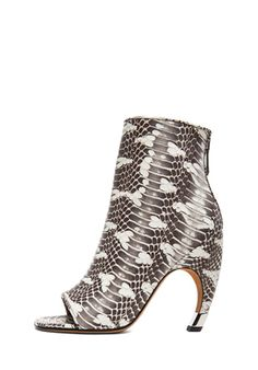 GIVENCHY Eclisi Curved Heel Snake Booties in Natural