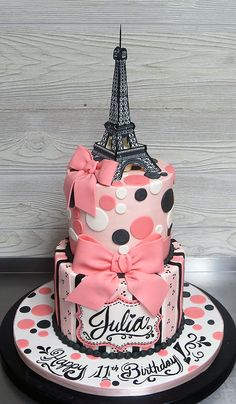 """Everything on this cake was handmade and edible! Eiffel Tower topper was made in several flat pieces and then """"glued"""" together using royal icing. Pink and Black, fashionable and totally Parisian. Paris Birthday Cakes, Art Birthday Cake, Paris Themed Cakes, 14th Birthday Cakes, Paris Themed Birthday Party, Paris Cakes, Birthday Cake Decorating, Pretty Cakes, Beautiful Cakes"""