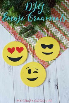 It seems like as the weather gets colder it's a great time for crafts! These emoji ornaments are easy to make and fun for everyone.