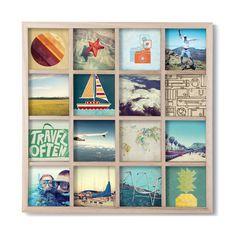 Cadre photo mural carré 16 vues en bois 43.2x43.2x3.2cm GRIDART en solde