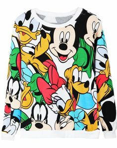 White Long Sleeve Cartoon Mickey Print Sweatshirt pictures