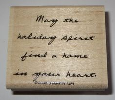 May The Holiday Spirit Find A Home In Your Heart Rubber Stamp Stampin' Up! Mtd  #StampinUp #Christmassaying