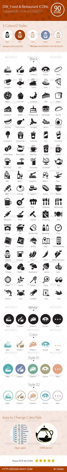 90 Food & Restaurant ICONs | Buy and Download: http://graphicriver.net/item/90-food-restaurant-icons/6283144?WT.ac=category_thumb&WT.z_author=90Box&ref=ksioks