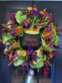 A personal favorite from my Etsy shop https://www.etsy.com/listing/248226789/halloween-wreath-witch-wreath-halloween