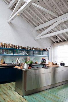 Green Stained Kitchen Floor Remodelista
