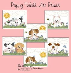 Puppy 8x10 Wall Art Prints for baby girl nursery or children's room decor #decampstudios