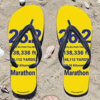 26.2 Math Miles on Yellow Flip Flops - Kick back after a marathon with these great flip flops! Fun and functional flip flops for all marathoners.
