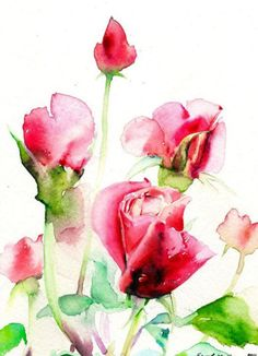 64 Ideas Flowers Painting Watercolor Rose For 2019 Watercolor Rose, Watercolour Painting, Painting & Drawing, Painting Flowers, Watercolors, Art Et Illustration, Art Floral, Flower Art, Amazing Art