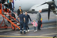 Crown Princess Victoria, Prince Daniel and their daughter Princess Estelle arrive at the airport in Kalmar in south eastern Sweden on Friday morning.