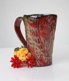 Game of Thrones Inspired RED and Gold Dragon Mug by Eekazookie, $22.00