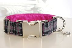 Black Plaid Dog Collar With Pink Color Block by TwistedPetDesigns, $23.00