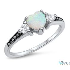 Oxidized Heart Ring Lab Created White Opal Round Russian Diamond CZ Three Stone Solid 925 Sterling Silver Promise Ring Valentines Gift