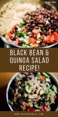 This protein packed salad is a meal in and of itself. The mixture of vegetables, fruit, nuts, quinoa and black beans culminates in a dish that hits every level of food chart, in a way that would make dieticians smile. The flavor of walnuts also compliments the inherent nuttiness of the South American grain, and adding a creamy texture in every bite. | Quinoa Salad Recipe | #Food #SaladRecipe #FoodRecipe #Salad #SaladRecipes #Vegan #VeganRecipe #VeganFood  #vegetarian #Quinoa #BlackBean… Best Vegetarian Recipes, Healthy Recipes On A Budget, Easy Healthy Recipes, Vegetarian Food, Healthy Foods, Quinoa Salad Recipes, Easy Salad Recipes, Easy Salads, Healty Dinner
