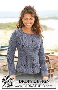 """Ravelry: 121-33 Crochet jacket in """"Nepal"""" pattern by DROPS design - Free pattern."""