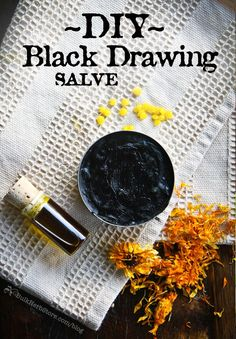 "DIY Black Drawing Salve - extra ""pull"" to take out wasp stingers, splinters, poison ivy. Here's summertime first-aid salve. Natural Home Remedies, Herbal Remedies, Health Remedies, Healing Herbs, Natural Healing, Holistic Healing, Natural Medicine, Herbal Medicine, Black Drawing Salve"