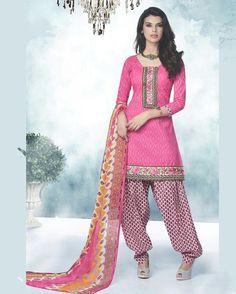 Pink Cotton Patiala Suit 57987
