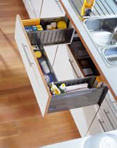 """This is really cool! """"With the recent development in new types of kitchen cabinet drawers the space underneath a sink can be used more efficiently. Amongst others Blum offers a new kind of U-shaped drawer for space underneath the kitchen sinks. The concept is very easy and perfect especially to store dishwashing accessories or cleaning agents etc. Gone are the times where the space of a kitchen cabinet had to be covered by a taller door or an additional cover panel."""""""